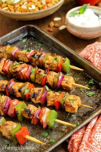 Grilled Pork tenderloin Charmoula Kebobs