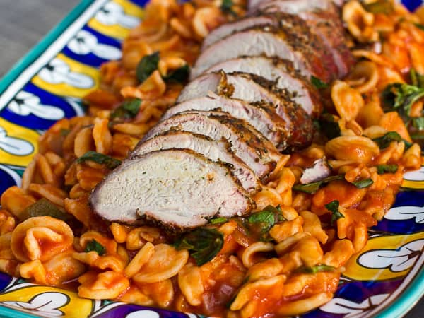 Smoked pork tenderloin with orecchiette